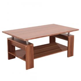 Konferenční stolek, světlý ořech / stříbrná, ROKO