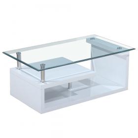 Konferenční stolek, sklo/bílá extra vysoký lesk HG, JULIEN