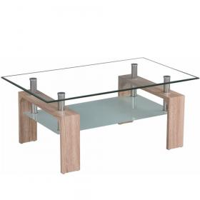 Konferenční stolek, dub sonoma/sklo, LIBOR NEW