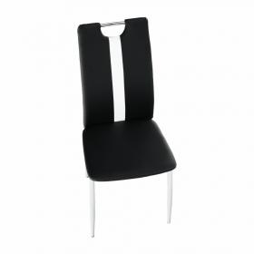 Židle, černá / bílá ekokůže + chrom nohy, SIGNA