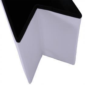 Skládací taburet, bílá ekokůže, IMRA