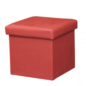 Skládací taburet, ekokůže červená, TELA NEW