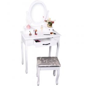 Toaletní stolek s taburetem, bílá / stříbrná, LINET New